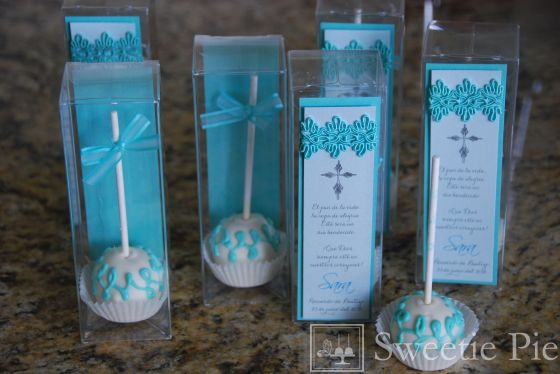 Baptism Cake Pops Turquoise and white